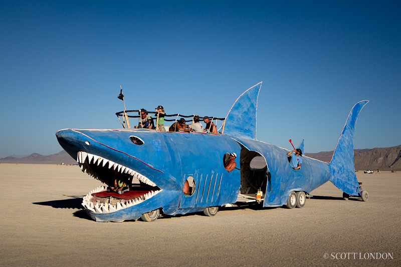 Shark Mutant Vehicle at Burning Man. Photo by Scott London.