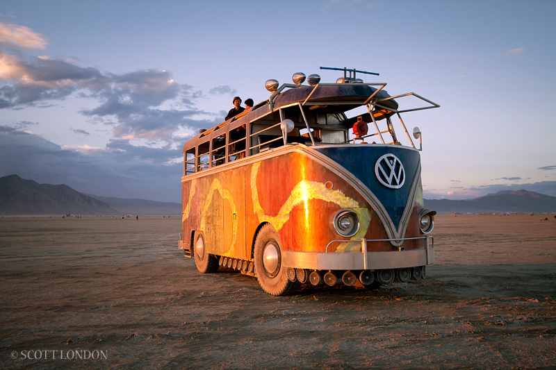 Super big VW Bus at Burning Man. Photo by Scott London.