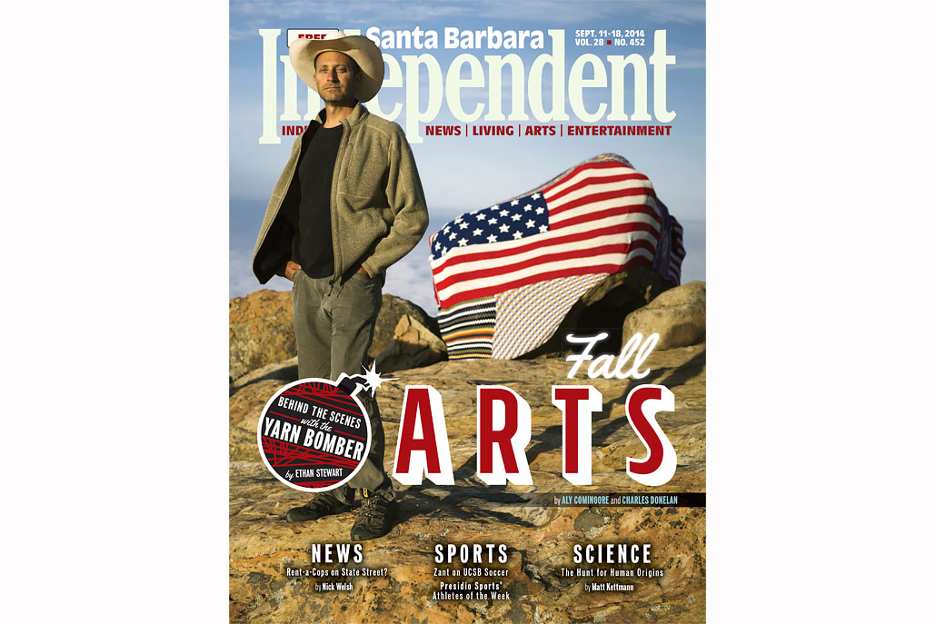 Yarnbomber cover story in the Santa Barbara Independent (Photo by Scott London)