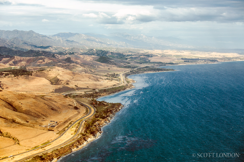 An aerial view of the oil spill at Refugio State Beach near Santa Barbara. (Photo by Scott London)