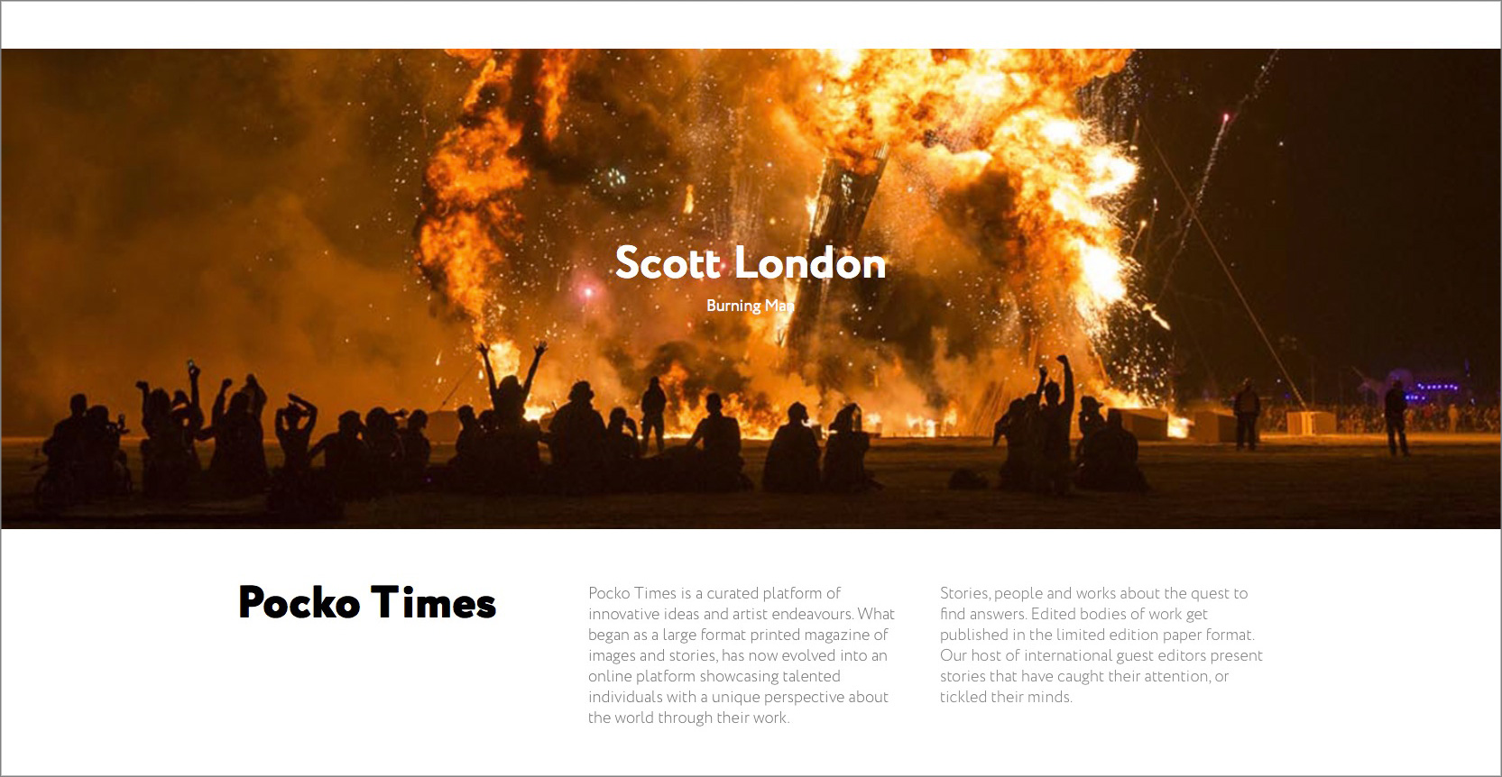 The Pocko Times features Scott London's photographs of Burning Man
