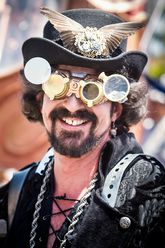 Steampunk performer at the Solstice Celebration in Santa Barbara, California. (Photo by Scott London)